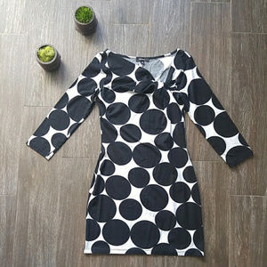 Express 3/4 Sleeve Polka Dot Dress